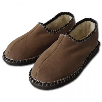 Pantofle s patou, tmavě hnědé