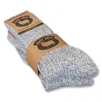 Ponožky z ovčí vlny 425 g - šedé sada 2 ks