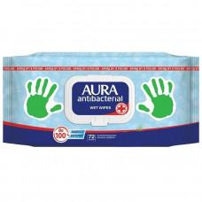 AURA Antibakteriální vlhčené ubrousky, 72 ks
