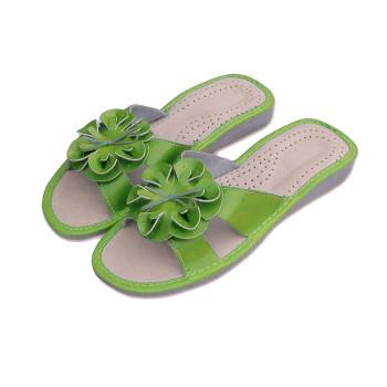 Dámské pantofle kytka, zelené