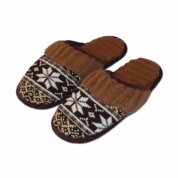 Vlněné pantofle s norským vzorem, hnědé