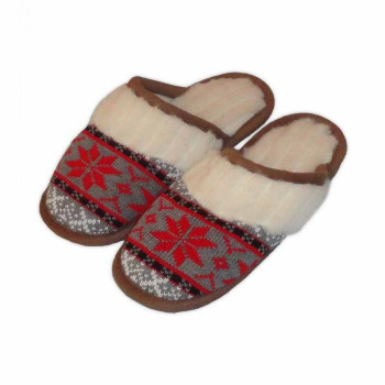 Vlněné pantofle s norským červeným vzorem