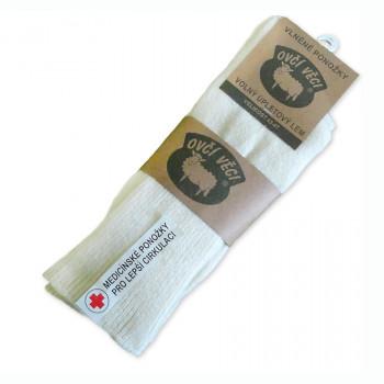 Ponožky z ovčí vlny Medicínské 425 g - bílé sada 2 ks