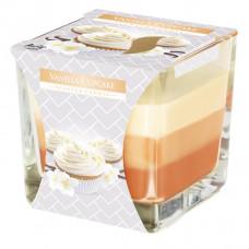 Tříbarevná vonná svíčka ve skle - Vanilla Cupcake